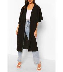 woven cape detail kimono, black
