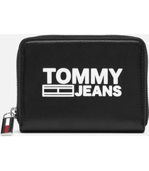 tommy jeans women's texture small zip around wallet - black