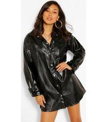pu blouse jurk met knopen, zwart
