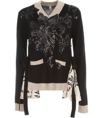 antonio marras silk inserts sweater v neck w/flowers paillettes