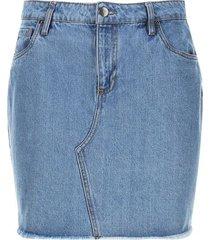 falda jean cinco bolsillos color azul, talla 8