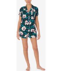 women's knit notch collar and short pajama set