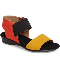 sesto meucci eirlys sandal, size 6 in mustard/coral leather at nordstrom