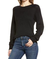 women's nordstrom cozy ballet neck sweater, size x-small - black