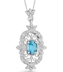 amethyst (1-5/8 ct. t.w.) and diamond (1/10 ct. t.w.) pendant necklace in sterling silver. also available in blue topaz