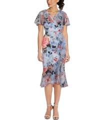 adrianna papell printed ruffled midi dress