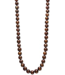 "dyed chocolate cultured freshwater pearl (9-1/2mm) 18"" collar necklace"