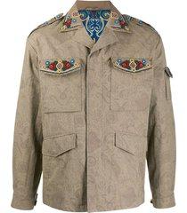 etro beaded paisley-print jacket - neutrals