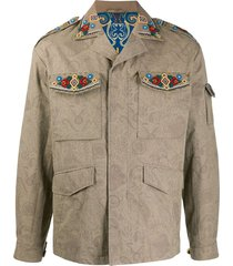 etro beaded paisley-print jacket - neutrals