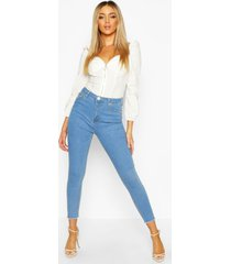 frayed hem skinny jeans, light blue