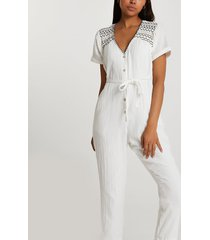 river island womens cream short sleeve embroidered jumpsuit