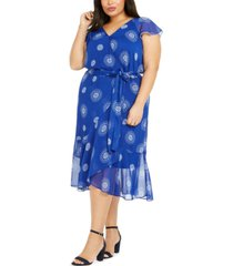 tommy hilfiger plus size printed chiffon fit & flare dress