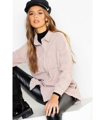oversized corduroy blouse met onbewerkte zoom, ecru