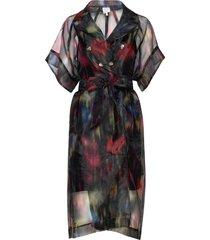 devore jurk knielengte multi/patroon baum und pferdgarten