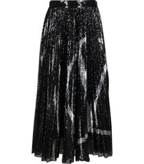 valentino black and silver sequin skirt