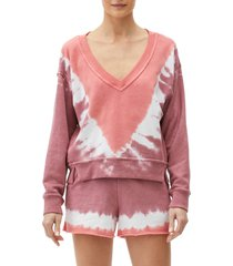 michael stars camila v-neck crop sweatshirt, size large in flame combo at nordstrom