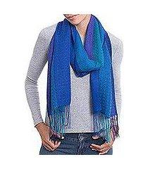 alpaca blend scarf, 'tranquil glory' (peru)
