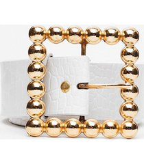 womens square she is faux leather oversized belt - white