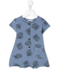 bobo choses pineapple-print crew neck playsuit - blue
