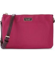 kate spade new york women's triple gusset nylon crossbody bag - rhubarb tart