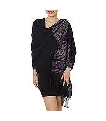 zapotec cotton rebozo shawl, 'black zapotec treasures' (mexico)