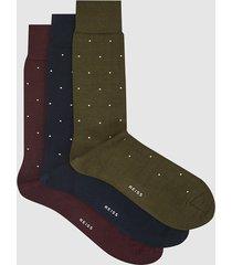 reiss mario - three pack polka dot socks in multi, mens