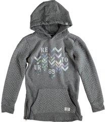 retour grijze long fit sweater hoodie