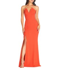 dress the population fernanda strapless evening gown, size xx-small in poppy at nordstrom
