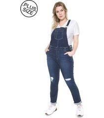 macaquinho jeans plus size da cambos azul
