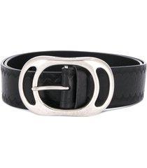 dsquared2 embossed logo textured belt - black