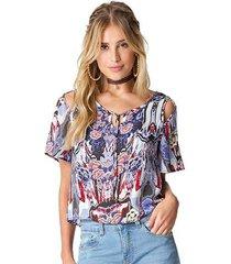 blusa viscose estampa azul floral ombro vazado