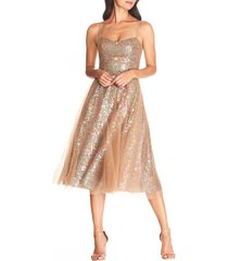 women's dress the population ensley sequin embroidered tulle dress