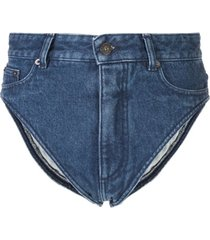 y/project calcinha jeans cintura alta - azul