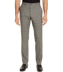armani exchange men's classic-fit tan glen plaid suit pants, created for macy's