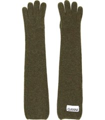 ganni long knit gloves