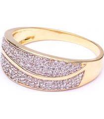 anel boca santa aparador clássico cristal - ouro amarelo
