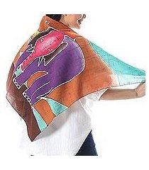 cotton batik scarf, 'winsome elephants' (thailand)
