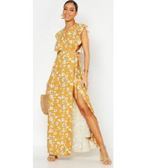 floral woven ruffle sleeve wrap maxi dress, mustard