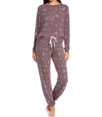 women's honeydew intimates star seeker brushed jersey pajamas, size small - burgundy