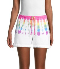 hard tail women's tie-dye drawstring shorts - rainbow wave