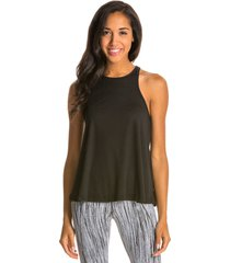 free people women's slub long beach tank top - black - large spandex