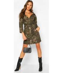 camo off the shoulder belted denim dress, camo