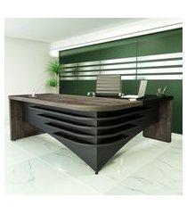 mesa escrivaninha diretor em l artany lado esquerdo terrrano e preto