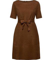 dress woven fabric knälång klänning brun taifun