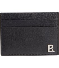 men's balenciaga calfskin leather card holder - black