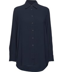 long crepe shirt overhemd met lange mouwen blauw filippa k