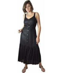 vestido midi feminino viscose liso botões alças dia a dia - feminino