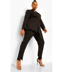 plus nette getailleerde broek met split, black
