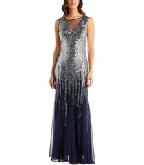 r & m richards embellished sequinned ombre gown