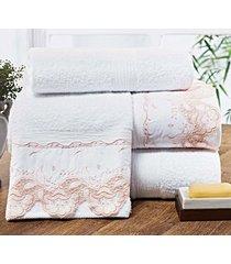 jogo de toalhas (banho e rosto) gigante coleção maiori goibada e branco algodão 250 fios com 5 peças - bernadete casa